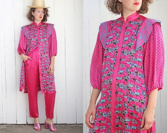 Vintage 80s Designer Two Piece Set | 80s Designer Diane Freis Printed Silk Pant Set Magenta Pink | Medium M