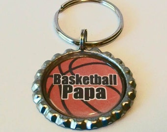 Unique Basketball Papa Grandfather Metal Flattened Bottlecap Keychain Great Gift