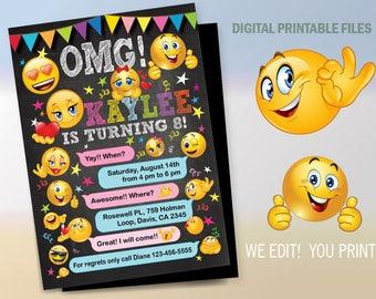 Emoji Emoticon Birthday Party Invitation, Emoji Birthday invitation, Emoji Emoticons,  Emoji Emoticon party, Birthday Emoticon