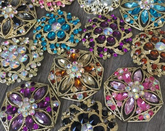 12 pc Large Mixed colored Rhinestone Lot