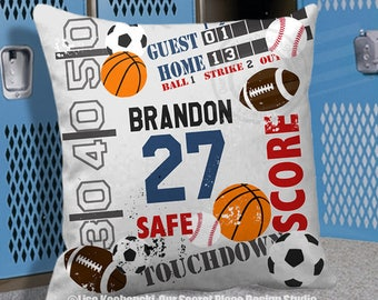 Custom Sports Pillow Cover Sports Bedding Sports Bedroom Decor Sports Decor for Boys Football Decor for boys Football room decor Kids Pillow