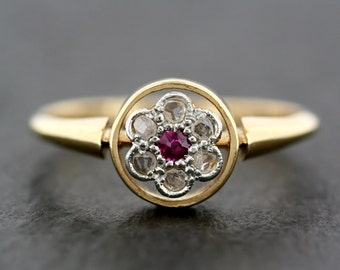 Art Deco Ruby Ring - Antique Ruby & Diamond Flower Cluster Ring - 18ct Gold Antique Engagement Ring