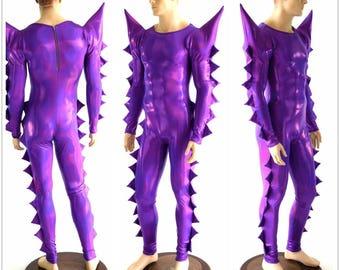 Grape Purple Holographic Spiked Mega Sharp Shoulder Crew Neck Back Zipper Metallic Rave Festival Drag Catsuit 152475