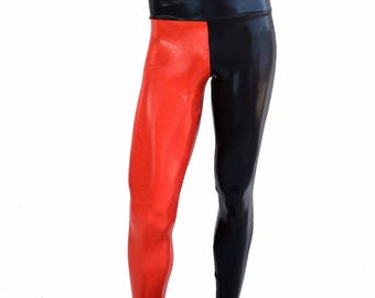 Mens Leggings Harlequin Red and Black Metallic Spandex Rave Festival Yoga Meggings - 154468