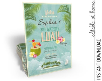 Luau Invitation, Luau Birthday Invitation, Luau Party Invitation, Luau Invite INSTANT DOWNLOAD you personalize at home