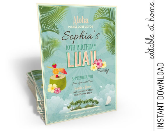 Luau Birthday Invitation INSTANT DOWNLOAD