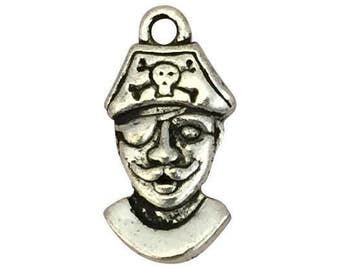 6 Silver Pirate Charm 21x11mm by TIJC SP1427