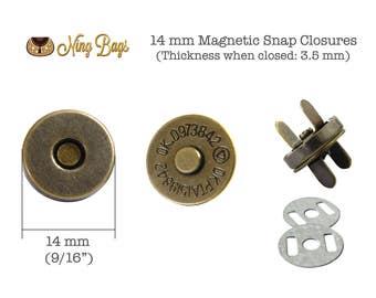 Set of 20 - 14 mm Magnetic Snap Closure, Bag Hardware for Purse, Handbags, Tote, Wallet, Handbag (Antique Brass Finish)
