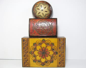 3 Polish Folk Art Wood Trinket Boxes