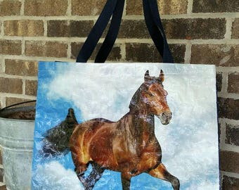 West Brand Repurposed Horse Feed Bag Tote Bag. Eco bag Equine. Rodeo.  GROCERY BAG. Now with polypropylene web strap handles