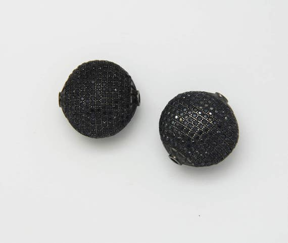 Black CZ Micro Pave 25mm  Puffy Disc  Beads