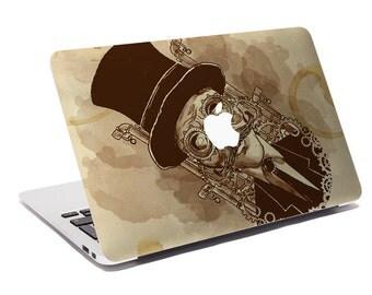 Macbook Decal The Son of Steampunk Man / Custom Creative Sticker for Computer / Apple Logo 783.267.865