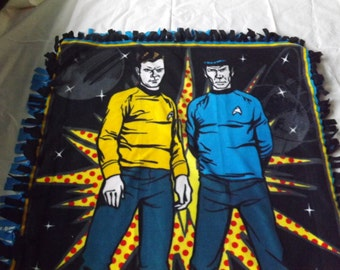double layer fleece tie throw blanket made from Star Trek  panel with blue backing