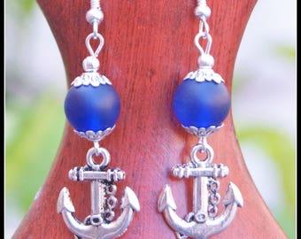 Frosted Glass Earrings, Anchor Earrings