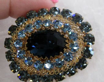 Austrian Crystal Brooch with Sapphire Blue large stone & small Pronged stones