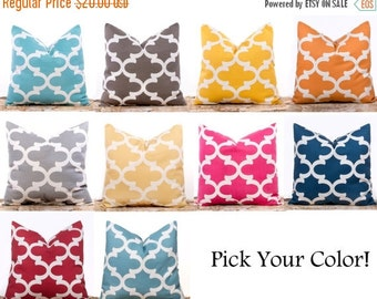 SALE ENDS SOON Throw Pillow Covers, Trellis Pillows, Cushions, Yellow Pillows, Blue, Red, Hot Pink, One 20 x 20""