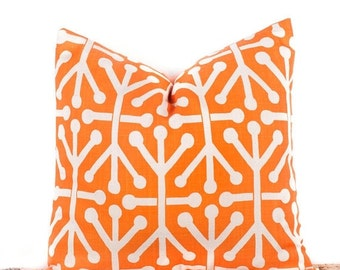 SALE ENDS SOON Geometric Patterned Orange Toss Pillow, Custom Throw Pillow, Diy Home Decor, 20 x 20