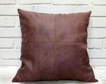 Fast shipping/piecewise square design burgundy thick vegan leather pillow cover/modern scandinavian homedecor/housewarming gift-1pc