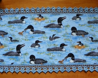 Loon Fabric Table Runner With Light Blue Crocheted Edge Made In Maine