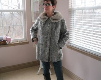 Gray Faux Persian Lamb Jacket Coat with MINK Collar EXCELLENT Condition Size M