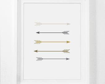 Grey And Yellow, Gold Nursery, Arrow, Arrow Print, Wall Decor, Nursery Wall Art, Printable Nursery Decor, Nursery Art, Arrow Art, Yellow