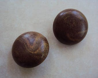 Vintage wooden dome button clip on earrings