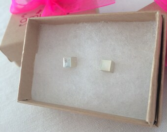 Medium Cube Studs - Solid Sterling Silver 925