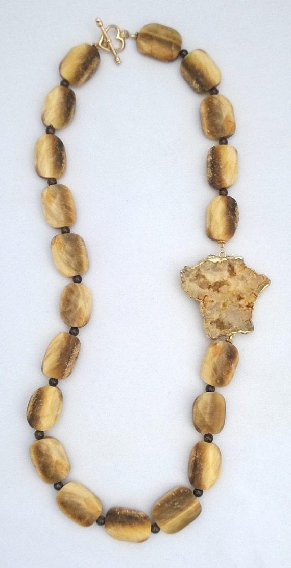 Golden Tiger Eye and Bronzite Necklace, Tiger Eye Necklace, Golden Eye Necklace