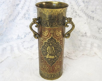 Enamelled Brass Persian Revival Vase with Serpent Handles, Kinco Spill Vase, Red and Black Enamel