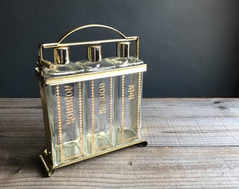 Vintage Gold Decanter Set with Caddy -Scoth, Rye, Bourbon