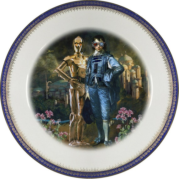 The Odd Couple - C3PO - R2D2 - Vintage Porcelain Plate - #0430