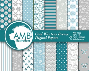 Christmas digital papers in gray and teals, Holiday Backgrounds, Christmasteal and grey papers, Scrapbooking, AMB-1523