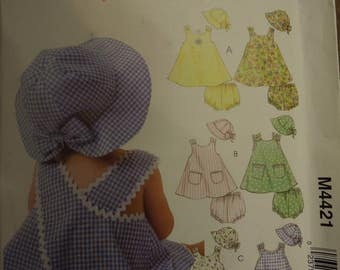 Stitch n Save M4421, McCalls, sizes small to x-large, UNCUT sewing pattern, craft supplies, dress, panties, hat