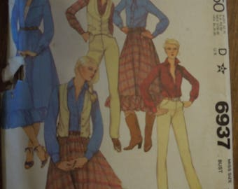 McCalls 6937, size 16, lined vest, shirt, skirt and pants, UNCUT sewing pattern, craft supplies