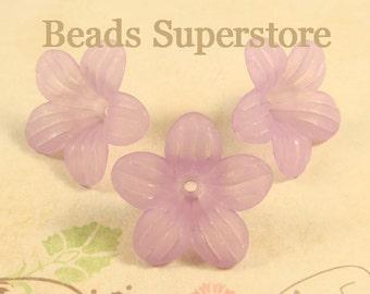 26 mm x 12 mm Light Purple Lucite Flower Bead - 10 pcs