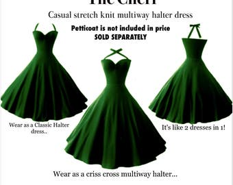 Forest Green 1950s PIN UP Multiway Rockabilly Halter Dress by Hardley Dangerous Couture, Bridesmaid Discounts available