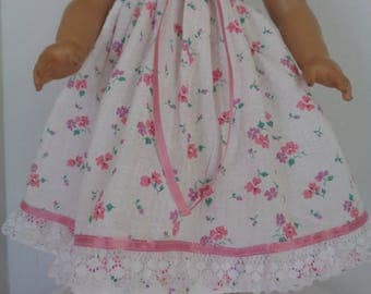 18 Inch Doll Clothes/18 Inch Doll Summer Night Gown with Pink Flowers, Ribbon and Lace