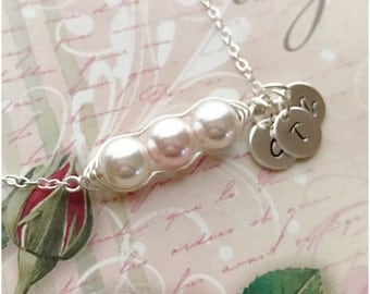 Personalized Initial 3 Peas-in-a-Pod Necklace - Custom Sterling Silver Pea Pod Initial Necklace - Wire Wrapped Three Pea Pod Necklace
