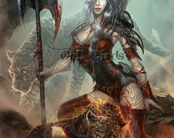 Art Print **Barbarian Girl** 13x19 Inches MTG Signed by Artist