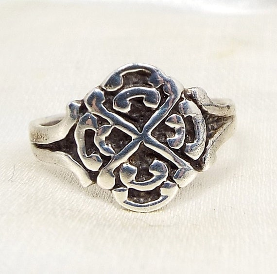 Vintage / Sterling Silver Unusual Ornate Celtic Style Rose Flower Ring / Size J