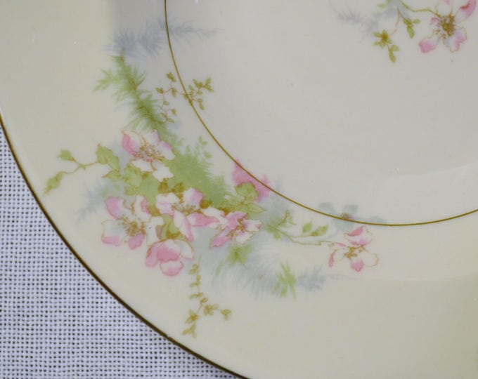 Vintage Theodore Haviland Apple Blossom Soup Bowl New York Pink Floral Gold Rim Replacement Wedding Bridal PanchosPorch