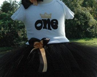 Black Tutu, Black Birthday Tutu,1st Birthday Outfit, Baby Girl Black ONE 1st Birthday Outfit,One Year Old Birthday Outfit, Black Tutu Outfit