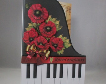 Handmade  Decoupage, 3D Piano and Poppies Birthday Card,Personalise