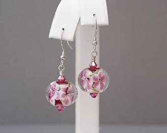 Pink Drop Earrings with Swarovski Crystals - Lampwork Glass Earrings - Gifts for Gardeners