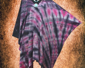 Psychedelic Wearable Art V neck Hand dyed Poncho Cover Up Tunic Top