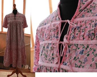 Vintage prairie dress, 70s 80s, cotton Medium size, boho hippie