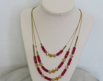 Gold Red Three Tiered Crystal Bead Necklace