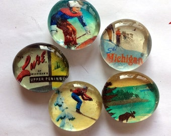 Great Outdoors Michigan's Upper Peninsula set of 5 glass magnets