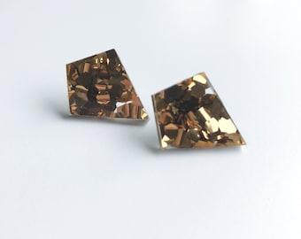 Bronze Glitter Stud Earrings Shard Shape glitter acrylic chunky statement confetti gold