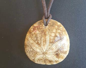 Fossil Sand Dollar Necklace with Adjustable Cord